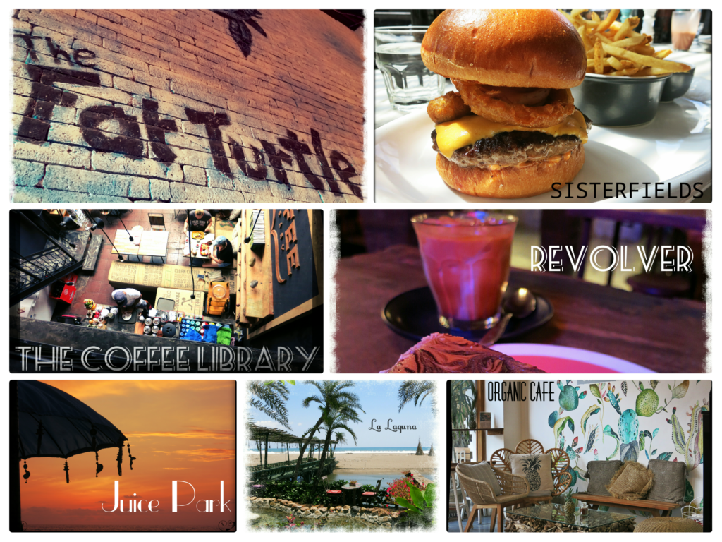 collage of images of the best cafes in Seminyak Bali