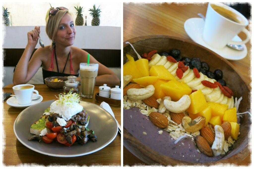 girl eating breakfast at cafe organic seminyak bali