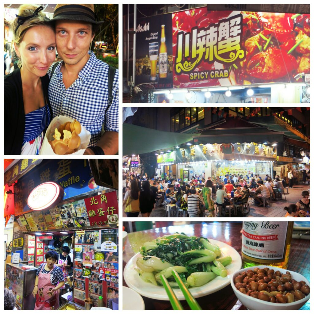 Enjoying our dinner at the temple street night market which offers the best streetfood in HK