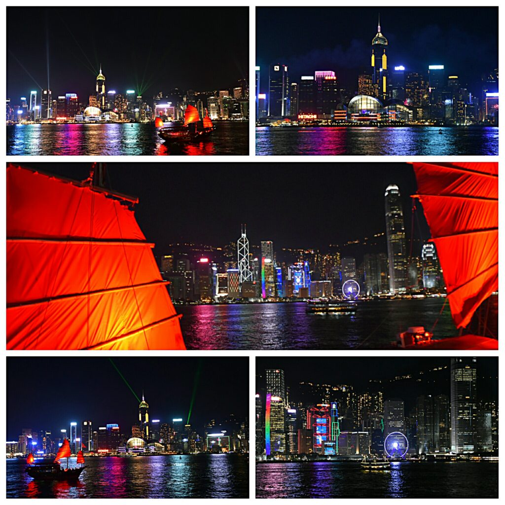 watching the SYMPHONY OF LIGHTS at the TSIM SHA TSUI promenade