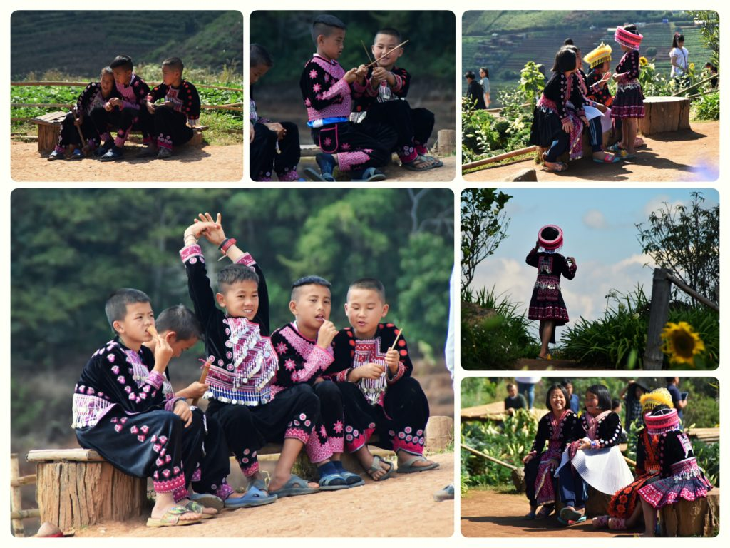 Children of hmong tribe in traditional clothing at Mon Cham