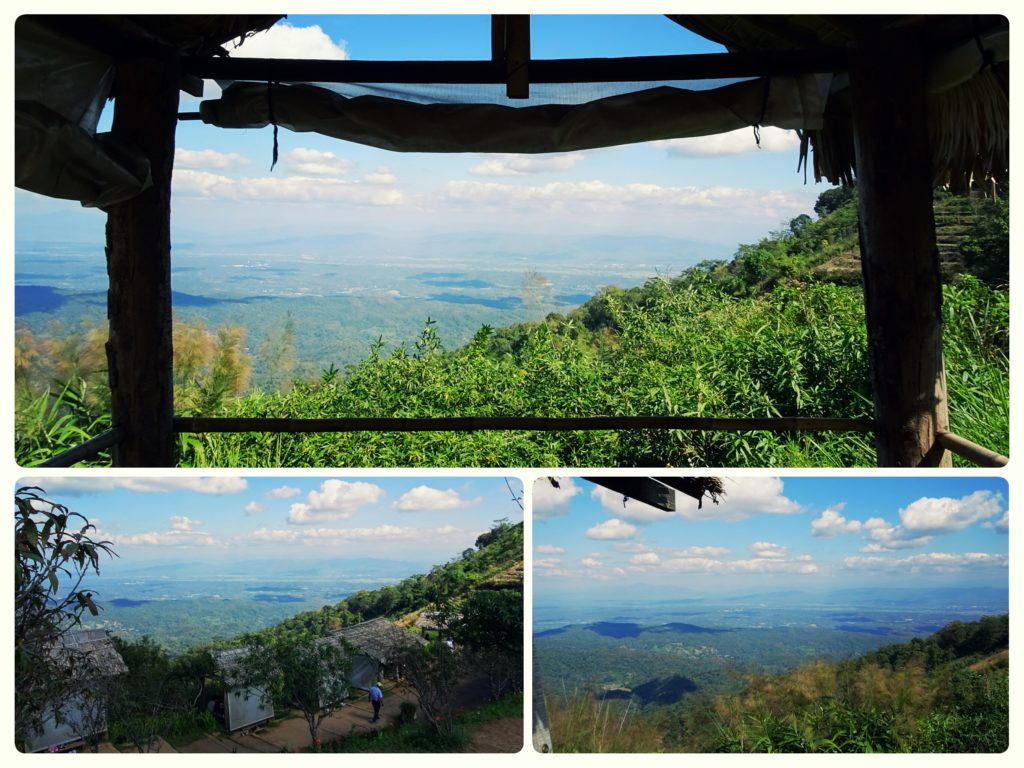 Mae Sa valley views from mountain edge bamboo huts at Mon Cham