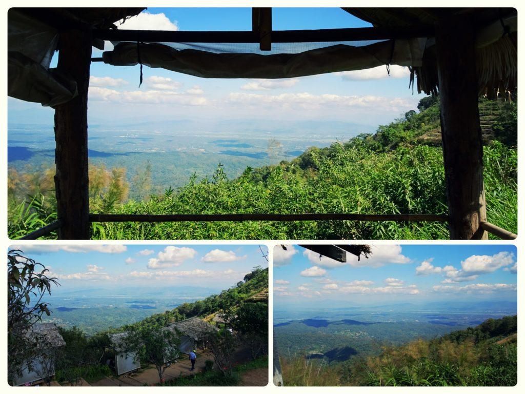 Mae Sa valley views from mountain edge bamboo huts at Mon Cham