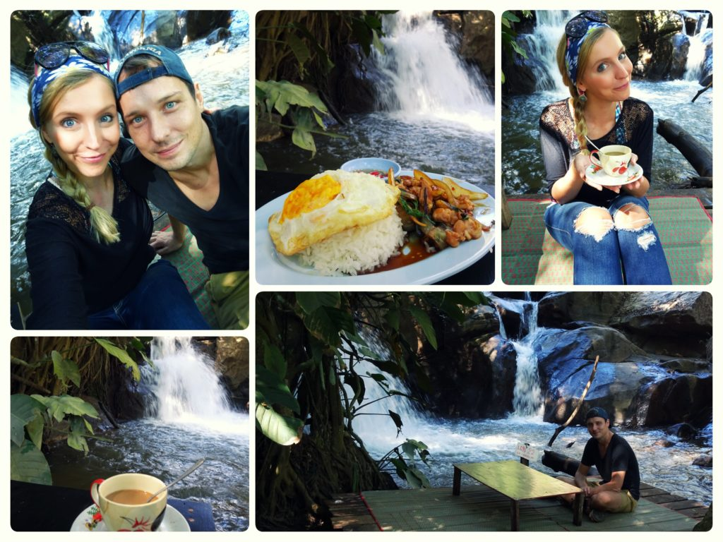 lunch stop at riverside waterfall restaurant during our scooter trip from Chiang Mai to Mon cham