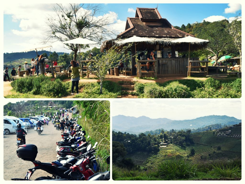 parking lot and rustic cafe with a view at Mon Cham mountain top