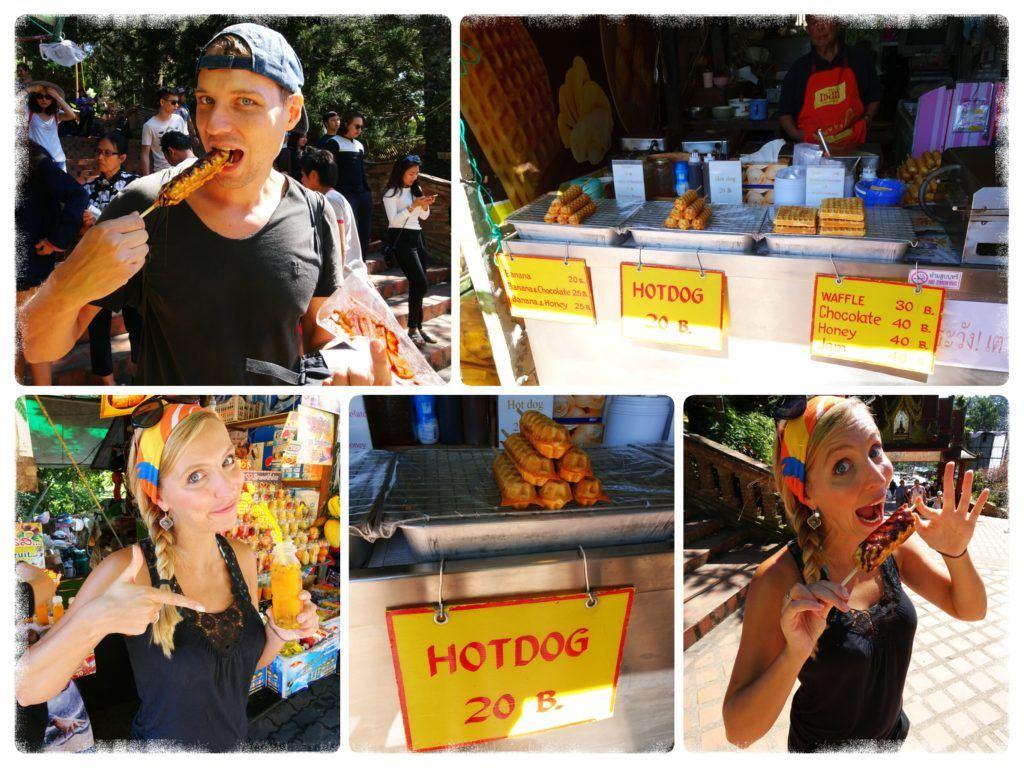 sampling snacks at Doi Suthep Themple Chiang Mai