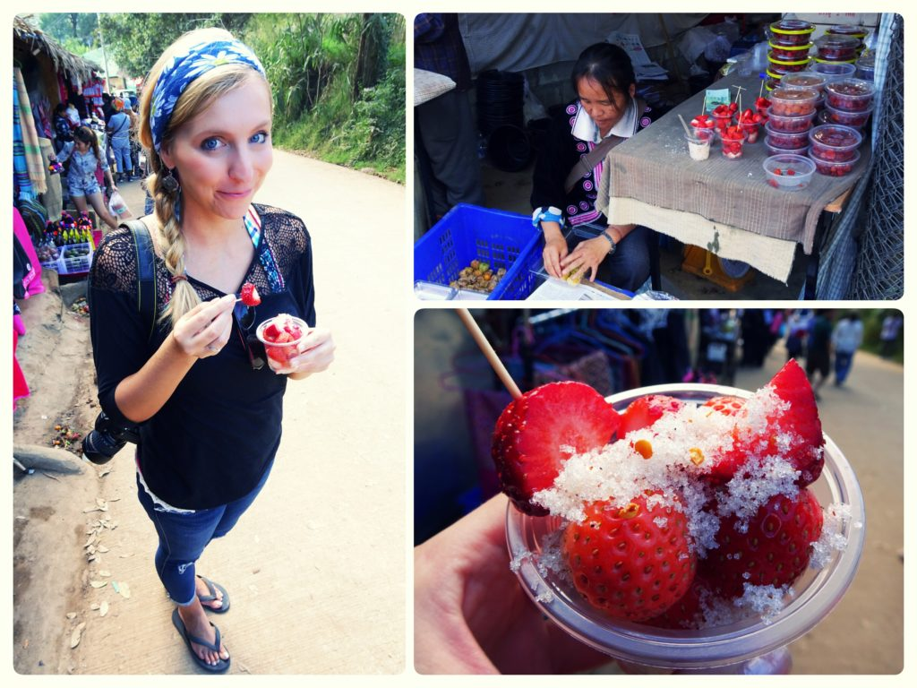 strawberry snack time at mon cham mountain perfect day trip from Chiang Mai