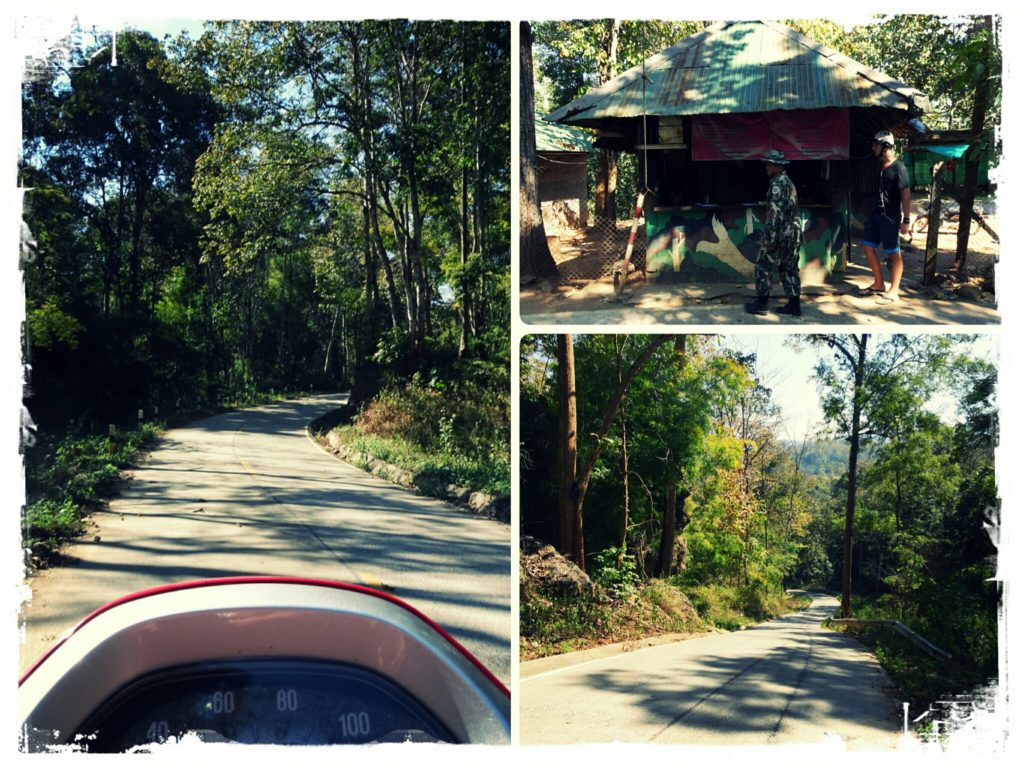 checkpoint and road leading to Sai Ngam hot springs Pai