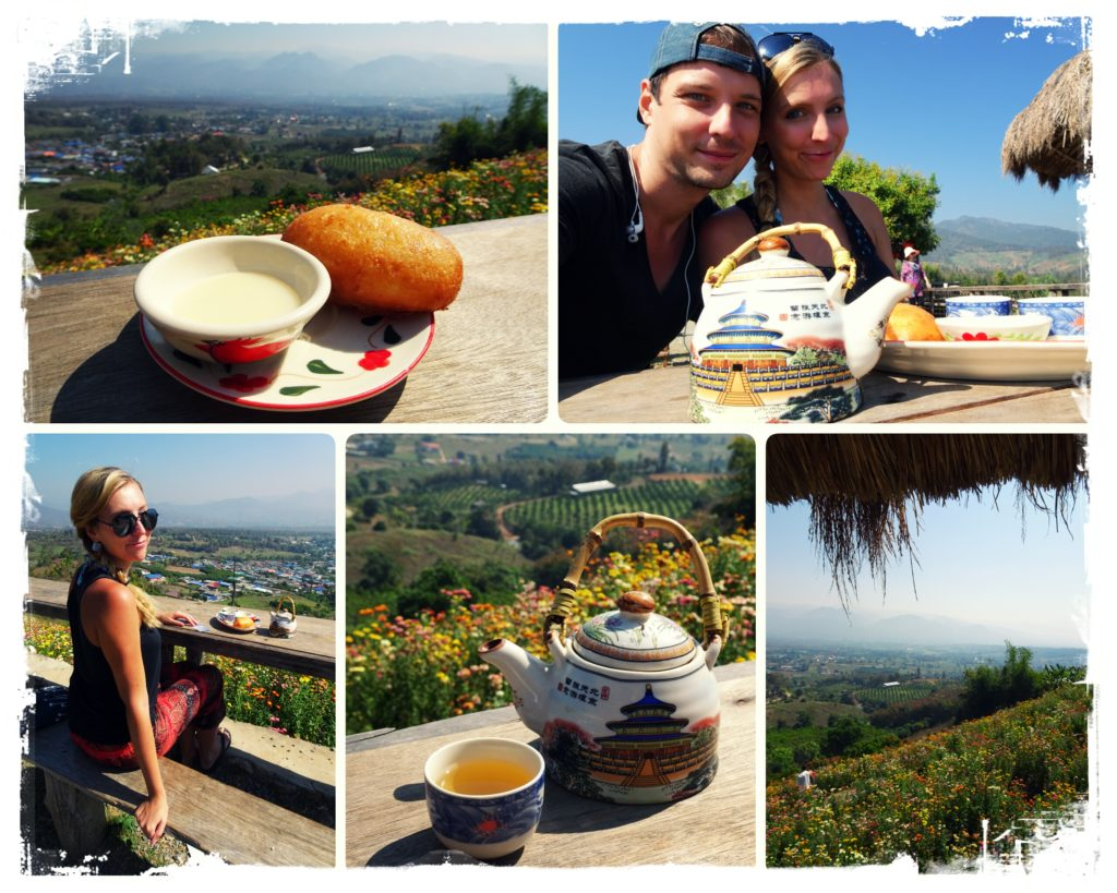 having tea and buns at the chinese viewpoint in Pai while enjoying the views
