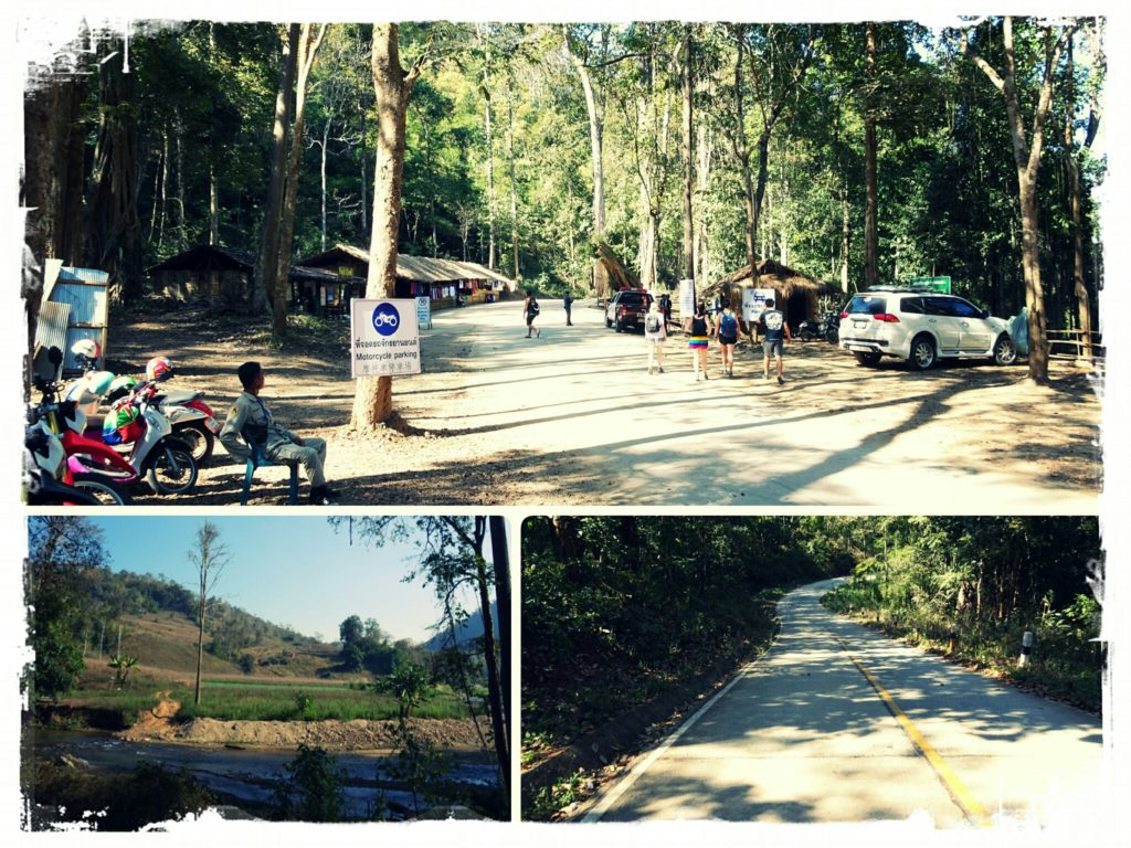 parking lot at Sai Ngam hot springs Pai