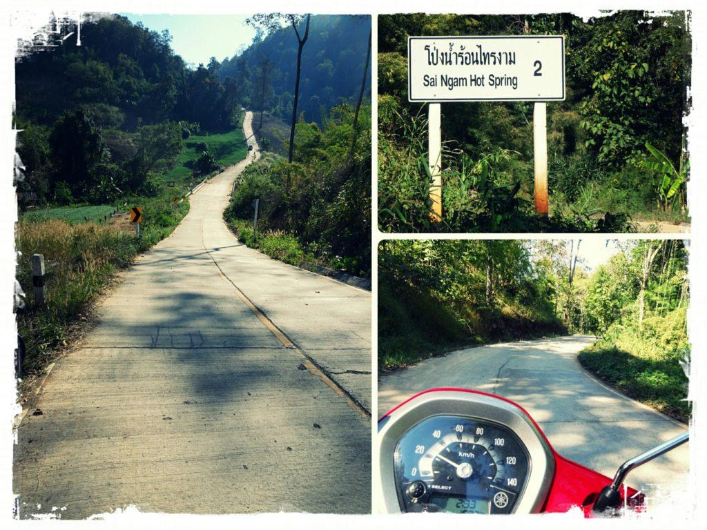steep roads leading to Sai Ngam hot springs Pai