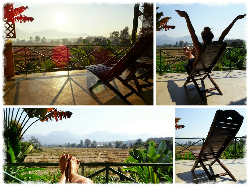 Time to relax and enjoy the panoramic views over the mountains and rice paddies in Pai Thailand