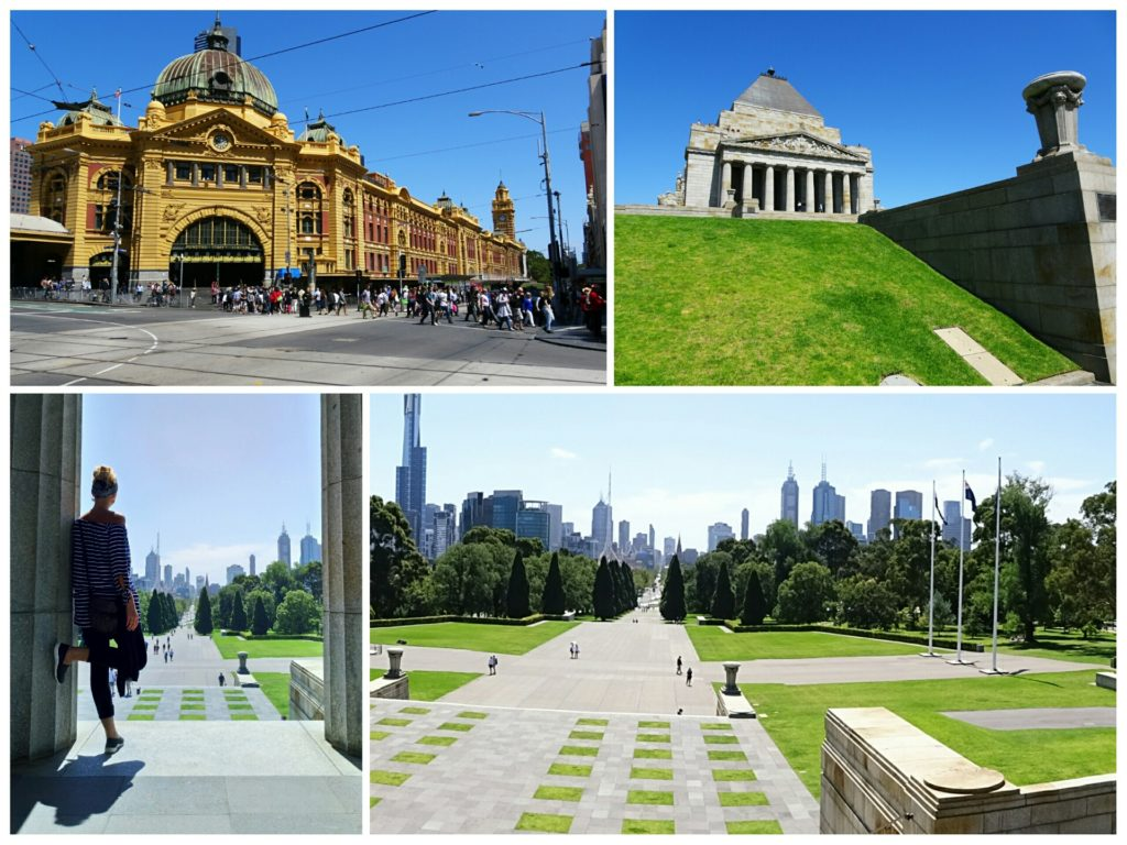 flinders street station and shrine of remembrance war memorial melbourne