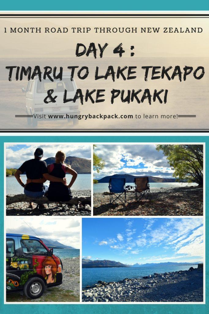 Pin for blog post NZ road trip day 5 Timaru to Lake Tekapo and Lake Pukaki