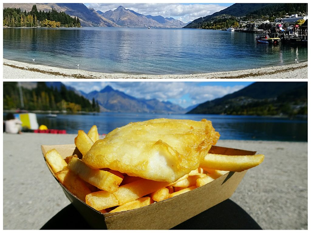 new zealand road trip fish and chips at the lake queenstown