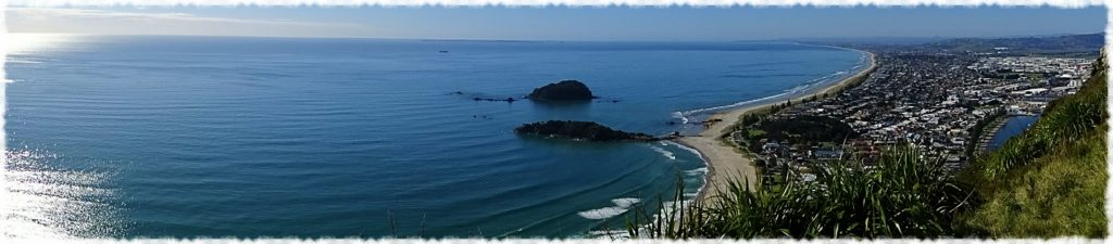 Panoramic shot from Mount Maunganui overlooking Bay of Plenty