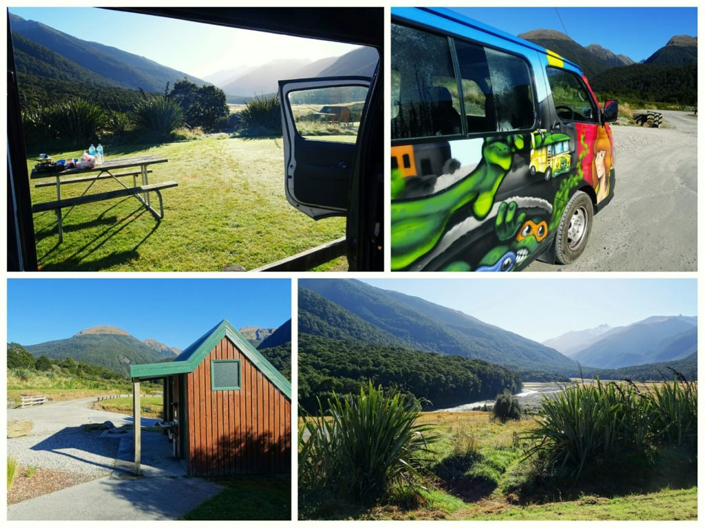 new zealand roadtrip blue pools franz josef glacier cameron flat campground collage