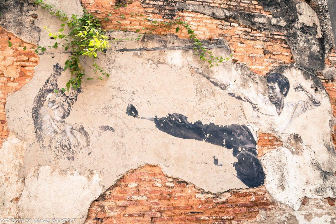 Bruce Lee street art mural Penang
