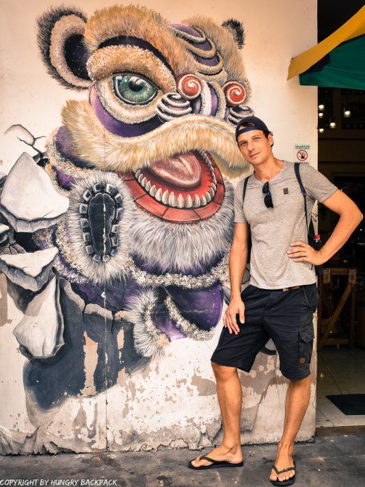Lion Break Dance street art Penang