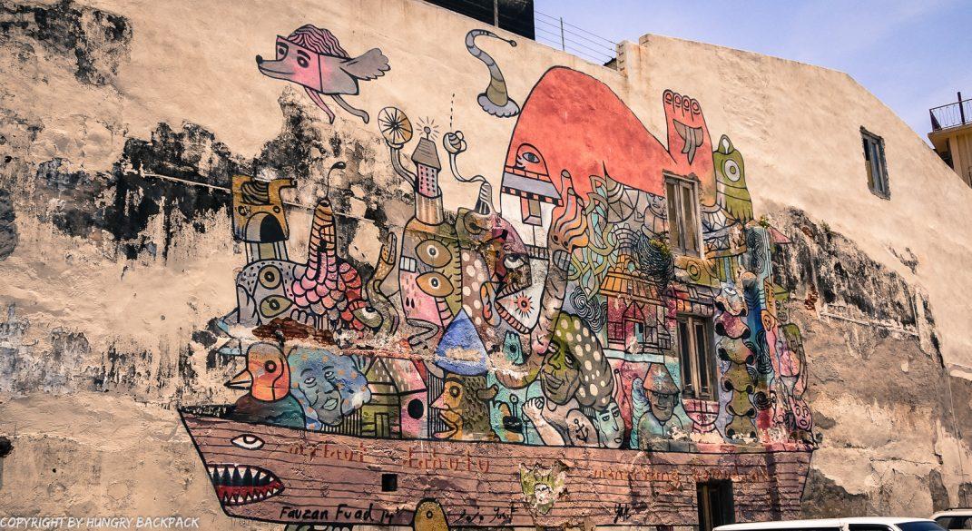 boat mural street art mural Penang