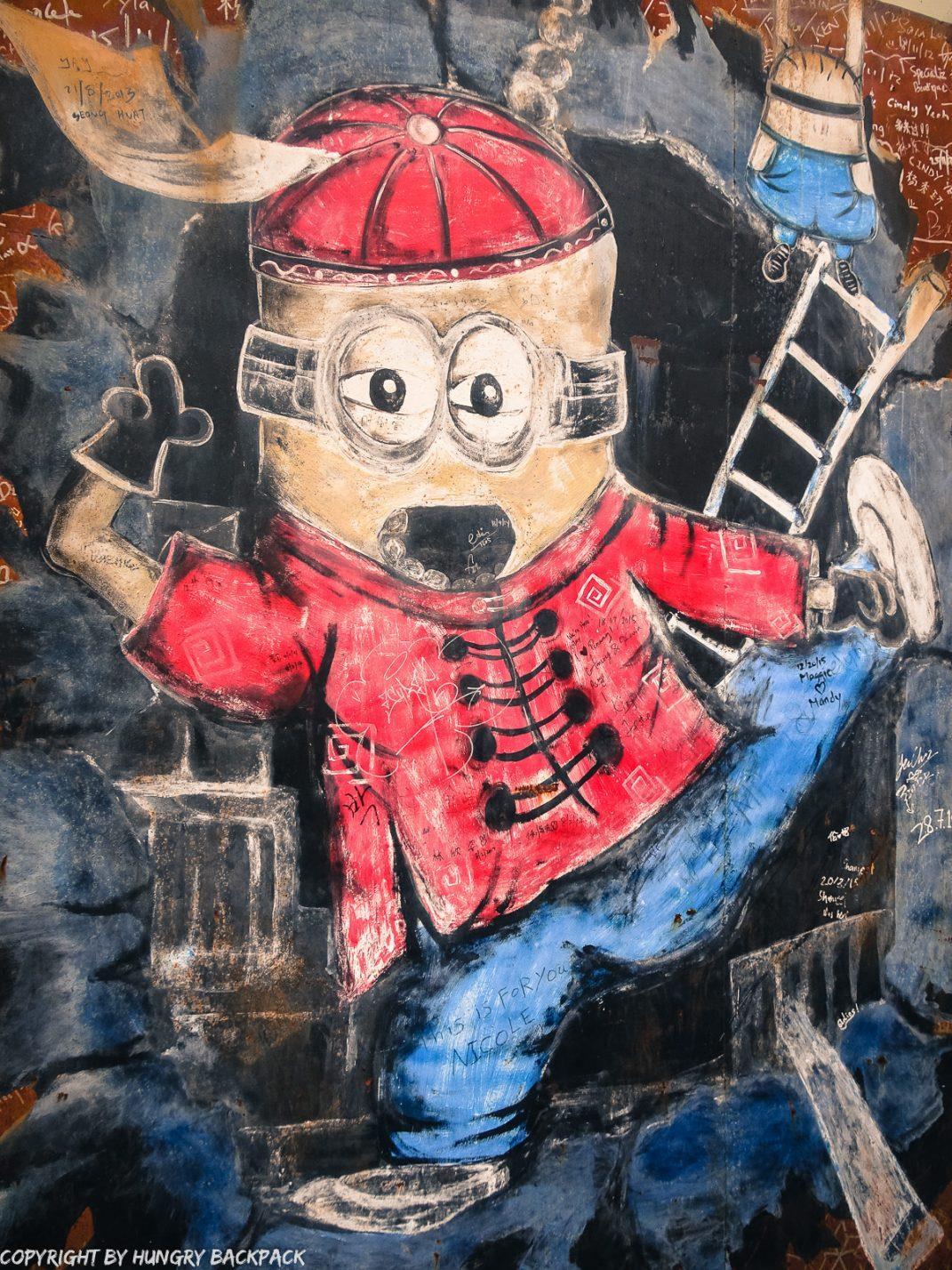 minion fireman street art mural Penang