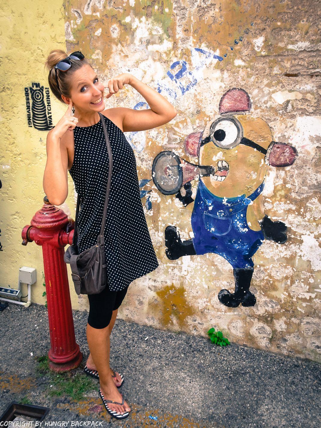 minion shouting_street art mural Penang