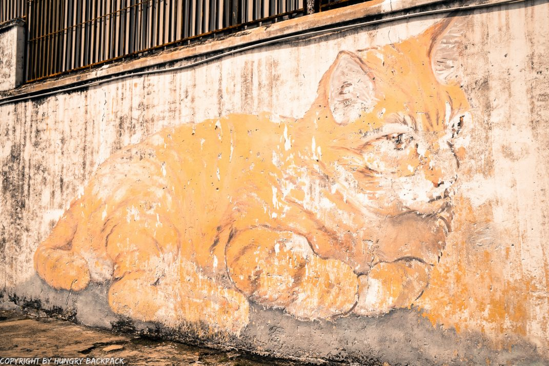 Skippy the cat street art mural Penang