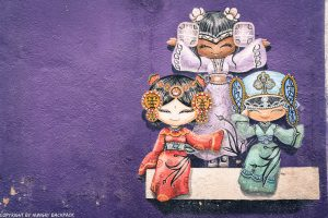 three little girls street art mural Penang