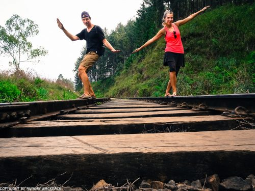 Ella hikes nine arch bridge_fun on railway tracks