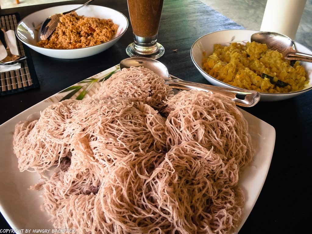 Sri Lanka Food_breakfast_string hopper, dahl curry, sambol
