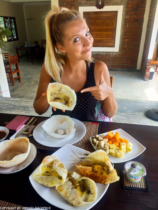 Sri Lanka breakfast_Berit enjoying Egg Hopper
