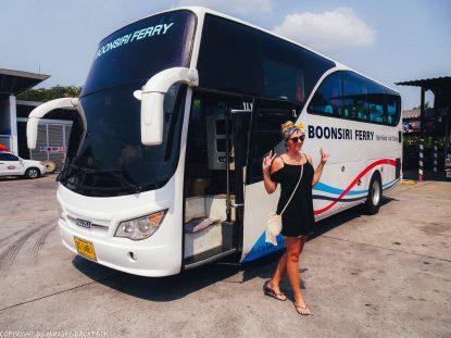 Bangkok to Ko Kut_Berit posing with boonsiri bus