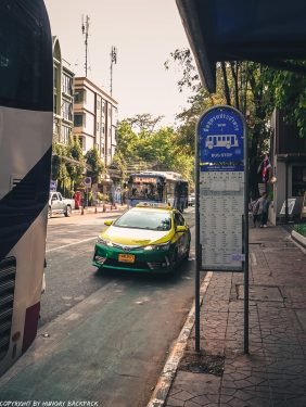 Bangkok City to Don Mueang airport by bus_A4 Bus Khao San Road bus stop
