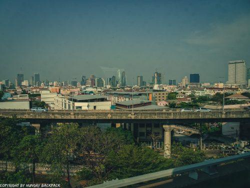 Bangkok City to Don Mueang airport by bus_A4 Bus on Express Way_View of Bangkok skyline