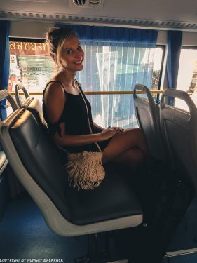 Bangkok City to Don Mueang airport by bus_A4 Bus_Berit sitting at window