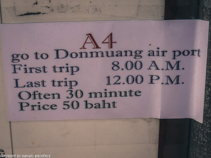 Don Mueang to Bangkok City by bus_Bus timets A4 Khao San to Don mueang