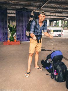Don Mueang to Bangkok City by train_Martin on platform