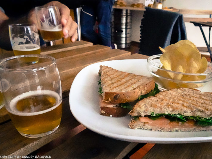 Craft beer Tour Porto_Colossus_beer tasting with smoked salmon sandwich