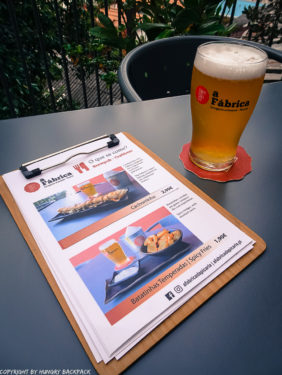 Craft beer Tour Porto_a Fabrica_beer and menu on outside terrace