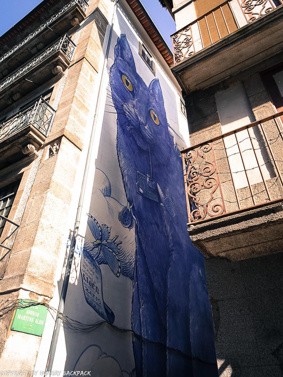 Porto street art_PERSPÉNTICO Blue Cat by LIQEN