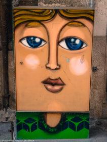Porto street art_Rua das Flores_electrical box_blond girl