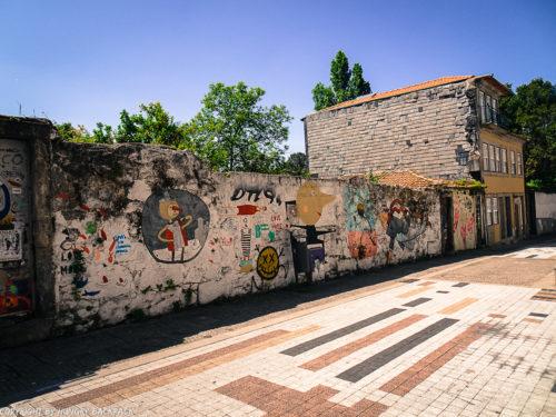 Porto street art_Rua de Miguel Bombarda_large wall with various street artists