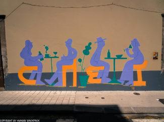 Porto street art_Rua de Miguel Bombarda_people sitting