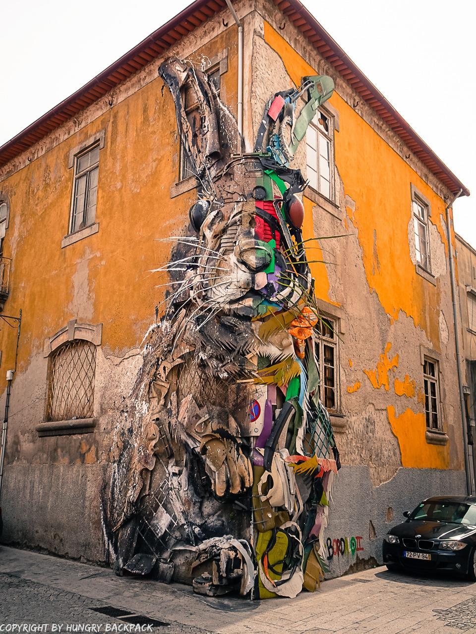 Porto street art_half rabbit by Bordalo II_2