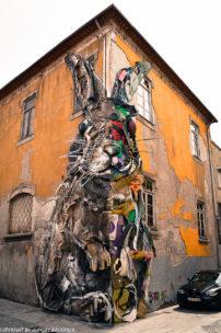 Porto street art_half rabbit by Bordalo II_3