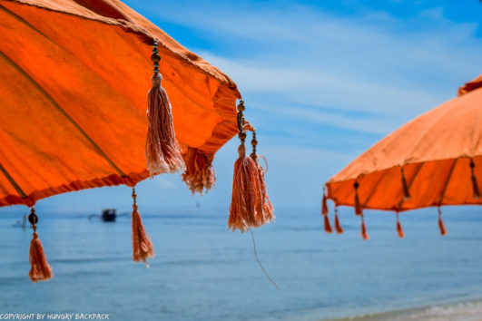 Gili Trawangan on year after earthquake_beach umbrellas