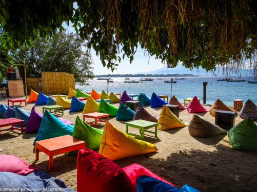 Gili Trawangan on year after earthquake_colourful beach bean bags