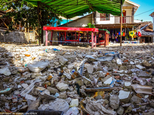 Gili Trawangan on year after earthquake_square of depris of collapsed building in center of town