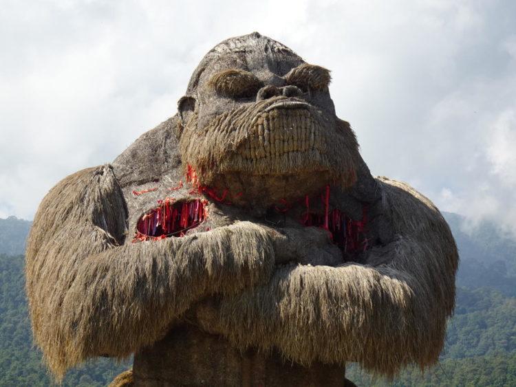 Giant King Kong straw sculpture at Huay Tueng Tao