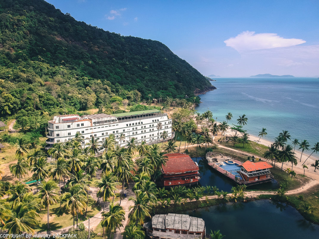 Koh Chang's Abandoned Galaxy Cruise ship from above